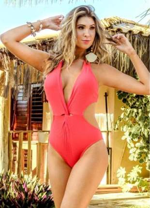 Maiô elegance decotado lycra praia canelado