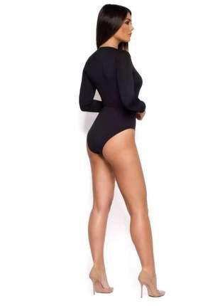Body feminino manga longa decote em v moda festa noite