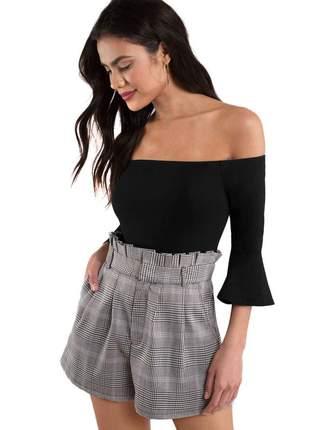 Body feminino ombro a ombro manga flare 3/4 moda festa
