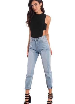 Body feminino detalhe lateral sem mangas gola moda feminina