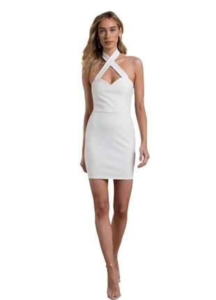 Vestido feminino curto transpassado costa nua moda festa 2020