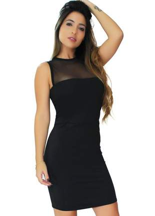 Vestido feminino midi com tule busto moda festa 2020