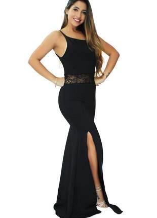 Vestido feminino longo alcinha renda cintura e fenda social moda festa