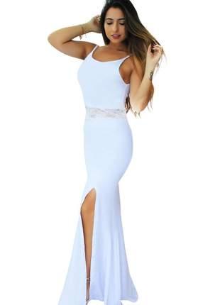 Vestido feminino festa longo alcinha detalhe renda cintura fenda moda feminina 2020