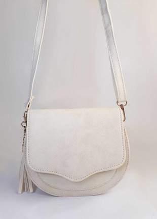 Bolsa bag michele branca - bolsa feminina pequena, tiracolo, de couro ecológico