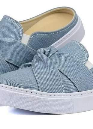 Tênis casual sapaxonadas slip on mule babuche jeans azul