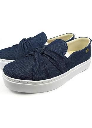 Tênis casual sapaxonadas slip on nó jeans azul