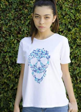 Camiseta caveira borboleta