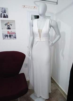 Vestido de festa offwhite noiva marsala e rosê madrinha casamento longo bojo e decote