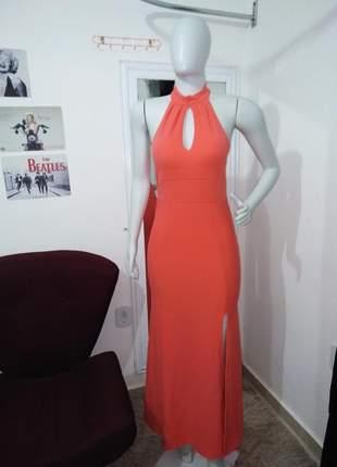 Vestido longo coral e marsala de festa elegante fenda bojo