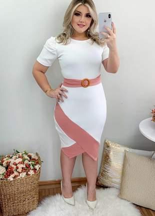 Vestido social moda evangélica com cinto embutido ref 738