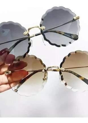 Óculos de sol redondo flower flor grande metal varias cores #fk#