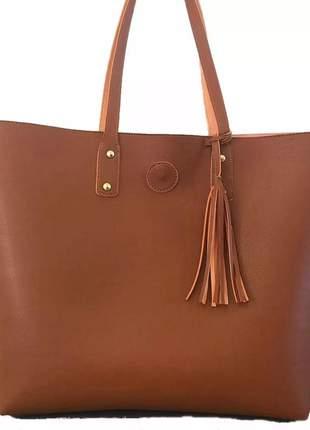 Bolsa feminina sacola grande de couro ecológico caramelo #la