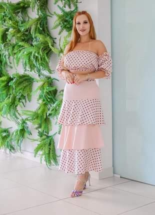 Çonjunto rose saia 3 marias elegante crooped saia
