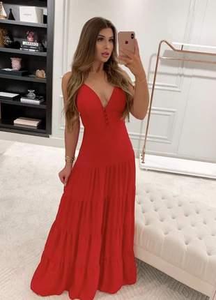 Vestido longo com botões e babado vermelho frete grátis