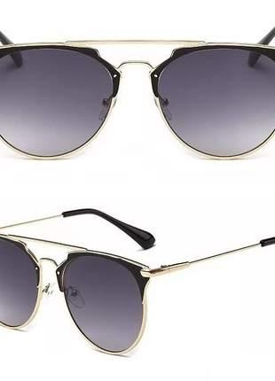 Óculos de sol feminino espelhado redondo proteção uv fashion #fk