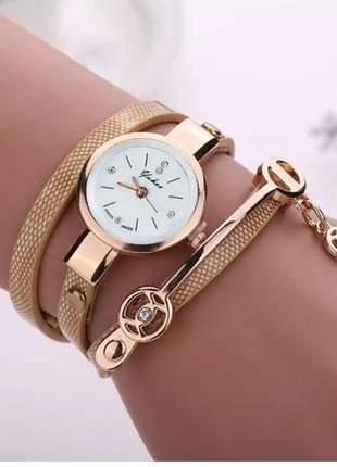 Relogio feminino dourado pulseira de couro bracelete strass #la