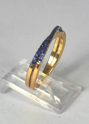 Anel semijoia gazin meia aliança microzircônias azuis tam. 16mm