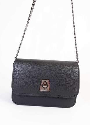 Bolsa bag mariana preta - bolsa feminina de couro ecológico, tiracolo, casual e social