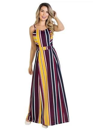 Vestido longo listrado moda evangélica alças feminino festa #la