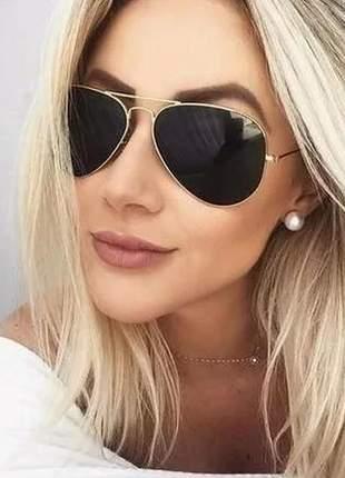 Óculos espelhado feminino de sol escuro aviador barato novo #la