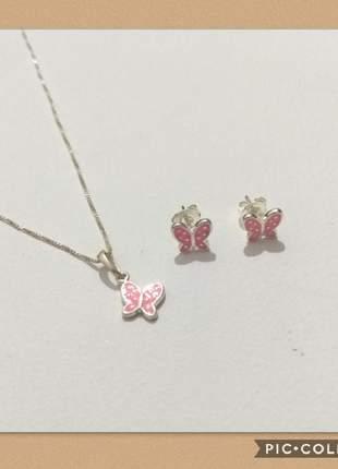 Conjunto semijoia gazin brincos e colar prata 925 borboletas rosa