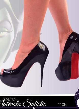 Sapatos femininos peep toe meia pata verniz
