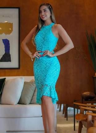 Vestido festa midi mullet azul tiffany