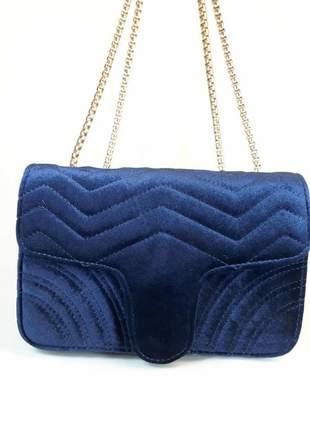 Bolsa bag fabiana azul - bolsa feminina de veludo e ombro, para festas e eventos.