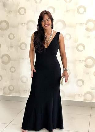 Vestido preto longo sereia