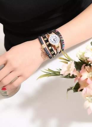 Relogio feminino dourado bracelete couro pingente barato #la