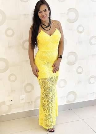 Vestido festa amarelo longo em renda