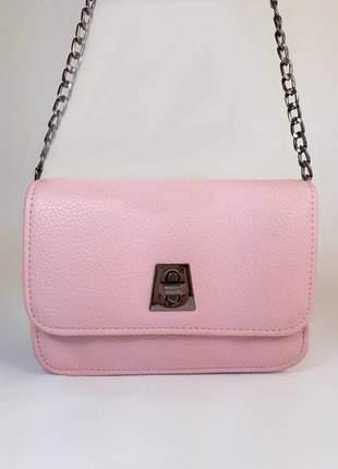 Bolsa bag mariana rosa - bolsa feminina de couro ecológico, tiracolo, casual e social