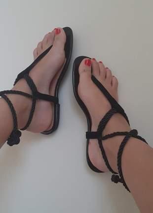 Sandalia rasteira de amarrar