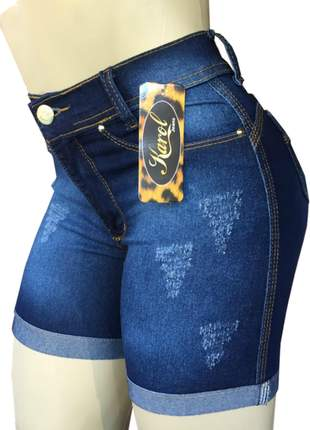 Bermuda jeans feminina meia coxa cintura alta
