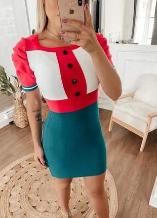 Vestido bio color manguinha princesa em modal