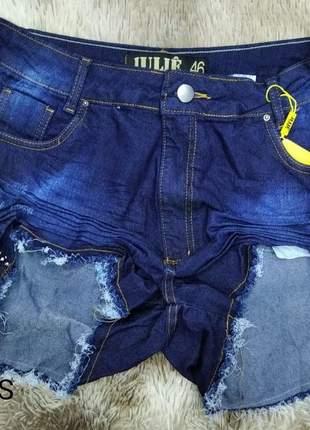 Shorts jeans cintura alta escuro plus size promoção verão