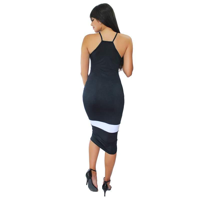 Dellevue / Vestido tubinho midi com detalhe em listra moda festa
