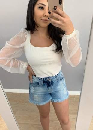 Shorts jeans feminino destroyed rasgado