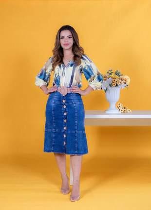 Saia jeans midi com botões com cinto roupas evangelicas