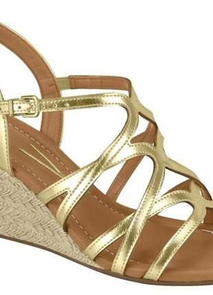 Sandália anabela metalizada dourada vizzano 6271