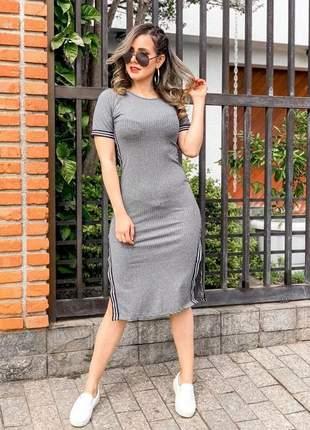 Vestido feminino midi canelado fenda listra lateral barato #la
