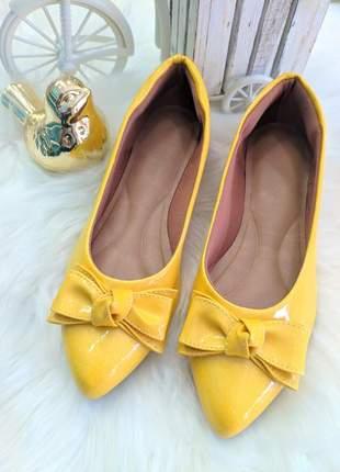 Sapatilha bico fino amarela amanda rikka