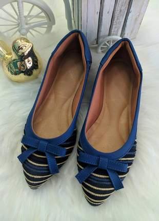 Sapatilha bico fino azul tecido amanda rikka