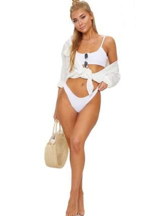 Biquíni semi asa delta com busto duplo de alcinha moda praia verão 2020