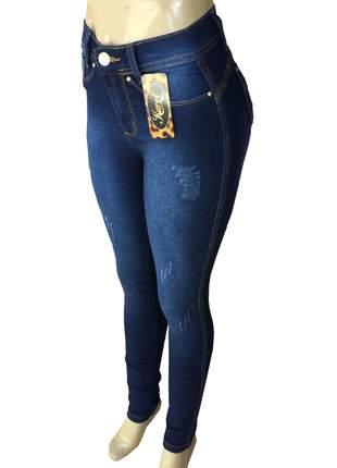 Calça jeans feminina moda maior cintura alta lycra