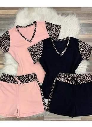 Conjunto baby look blusinha short shortinho oncinha blogueir #la