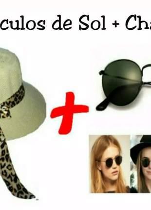 Chapéu de praia campo country feminino moda + óculos escuro
