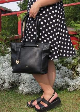 Kit sandalia vizzano ultra confortável + bolsa totem shopper grande preta