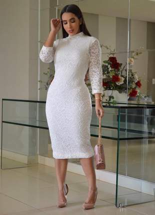 Vestido branco midi moda evangelica casamento civil noivado